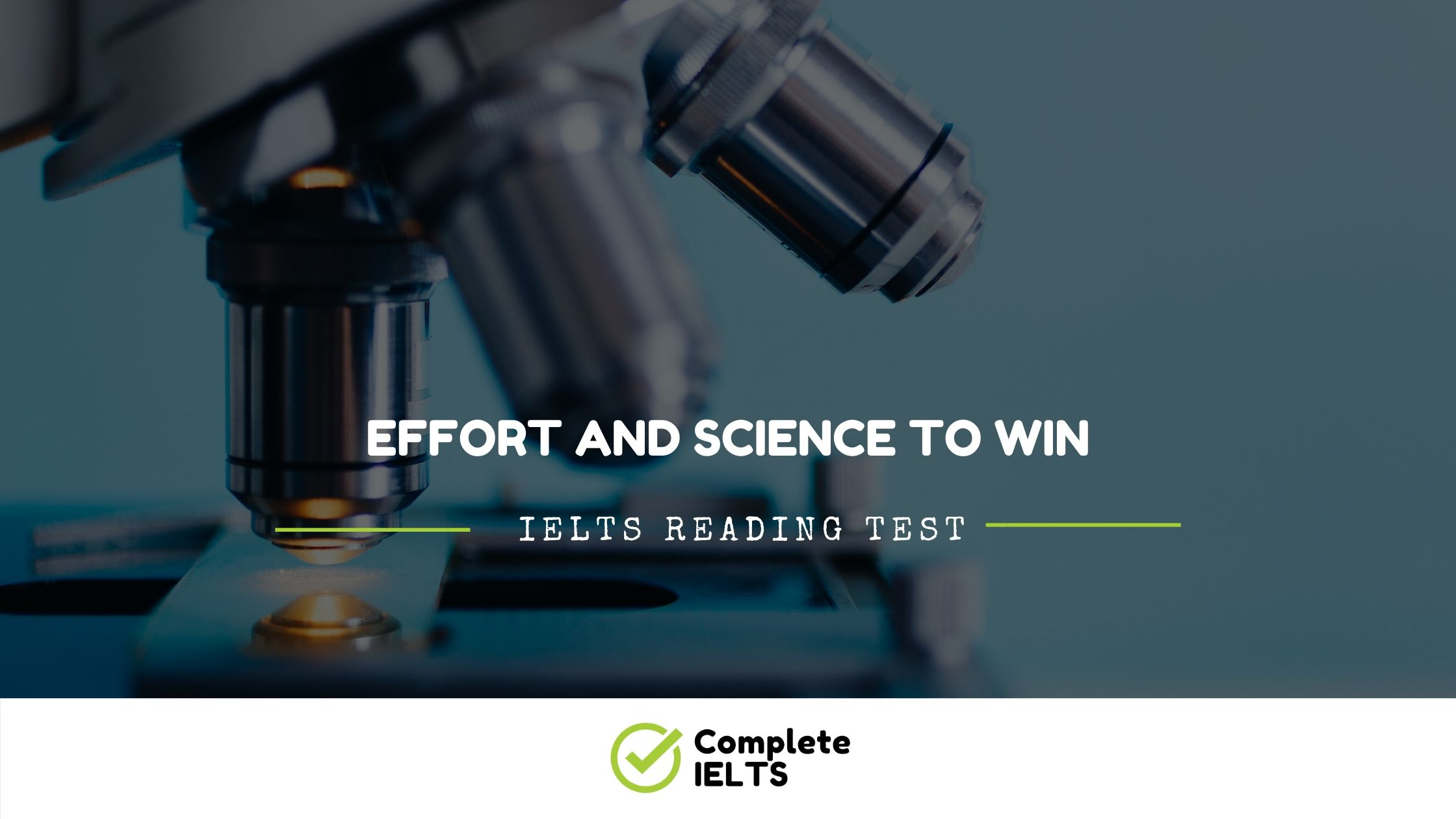 EFFORT AND SCIENCE TO WIN